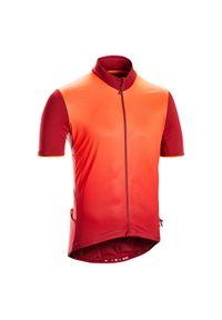 TRIBAN - Koszulka krótki rękaw na rower szosowy RC500 męska. Kolor: pomarańczowy, wielokolorowy, czerwony. Materiał: poliamid, wełna, materiał, elastan, poliester. Długość rękawa: krótki rękaw. Długość: krótkie. Sport: kolarstwo