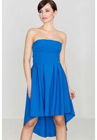 Niebieska sukienka Katrus z odkrytymi ramionami
