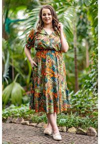 Sukienka Moda Size Plus Iwanek na spacer, z krótkim rękawem