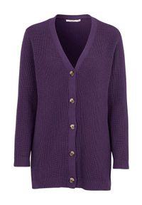 Cellbes Rozpinany sweter z bawełny Fioletowy female fioletowy 58/60. Okazja: na co dzień. Typ kołnierza: dekolt w kształcie V. Kolor: fioletowy. Materiał: bawełna. Długość: długie. Wzór: melanż. Styl: casual