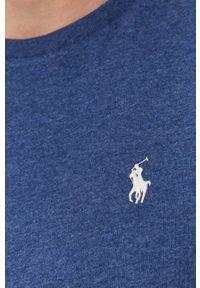 Polo Ralph Lauren - T-shirt. Okazja: na co dzień. Typ kołnierza: polo. Kolor: niebieski. Materiał: dzianina. Wzór: gładki, aplikacja. Styl: casual