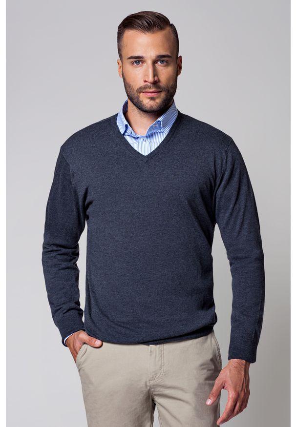 Szary sweter Lancerto klasyczny, na wiosnę, w kolorowe wzory