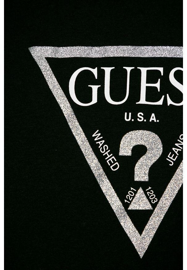 Czarna bluzka Guess Jeans na co dzień, długa, z okrągłym kołnierzem