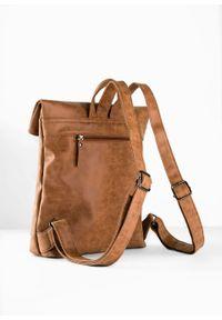 Plecak bonprix koniakowy. Kolor: brązowy. Materiał: skórzane