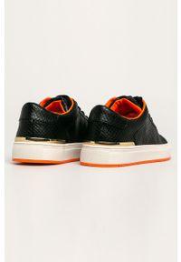 Czarne buty sportowe DKNY z cholewką, na sznurówki, z okrągłym noskiem