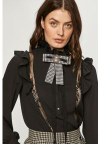 Czarna koszula Silvian Heach klasyczna, ze stójką, na co dzień, z długim rękawem