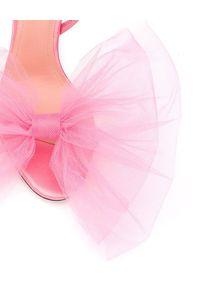 MARCO DE VINCENZO - Różowe sandały z kokardą. Zapięcie: pasek. Kolor: różowy, fioletowy, wielokolorowy. Materiał: satyna. Wzór: aplikacja. Obcas: na obcasie. Wysokość obcasa: średni