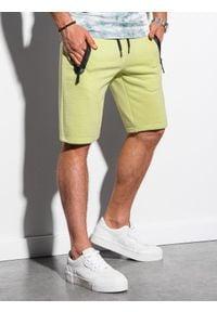Ombre Clothing - Krótkie spodenki męskie dresowe W239 - limonkowe - XXL. Okazja: na co dzień. Materiał: dresówka. Długość: krótkie. Wzór: nadruk. Sezon: wiosna, lato. Styl: casual, klasyczny