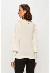 Biały sweter Morgan z długim rękawem, casualowy, długi