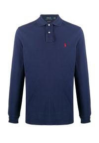 Ralph Lauren - RALPH LAUREN - Granatowa bluzka polo z logo. Typ kołnierza: polo. Kolor: niebieski. Materiał: bawełna. Długość rękawa: długi rękaw. Długość: długie. Wzór: haft