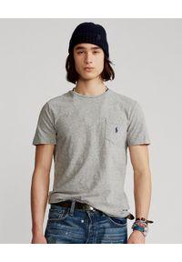 Ralph Lauren - RALPH LAUREN - Szara koszulka Custom Slim Fit. Okazja: na co dzień. Typ kołnierza: polo. Kolor: szary. Materiał: bawełna. Wzór: haft, melanż. Styl: casual
