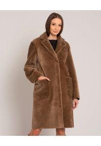 ALMAROSAFUR - Brązowy dwustronny kożuch. Kolor: brązowy. Materiał: puch. Sezon: zima. Styl: klasyczny, elegancki