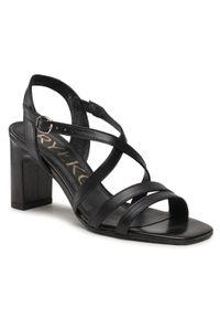 Czarne sandały na średnim obcasie, na obcasie, casualowe, na co dzień