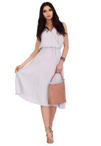 Szara sukienka Merribel kopertowa