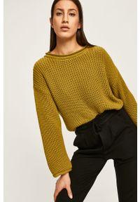 Zielony sweter ANSWEAR casualowy, na co dzień, z okrągłym kołnierzem