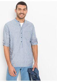 Koszula z długim rękawem, len z TENCEL ™ bonprix niebieski dżins - biel wełny w paski. Kolor: niebieski. Materiał: wełna, len. Długość rękawa: długi rękaw. Długość: długie. Wzór: paski