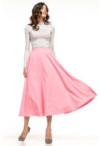 Tessita - Różowa Rozkloszowana Midi Spódnica z Metalowym Zamkiem. Kolor: różowy. Materiał: poliester, elastan
