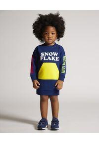 DSQUARED2 KIDS - Sukienka dresowa 0-3 lata. Kolor: niebieski. Materiał: dresówka. Długość rękawa: długi rękaw. Wzór: nadruk. Sezon: lato. Typ sukienki: sportowe. Styl: sportowy