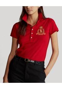 Ralph Lauren - RALPH LAUREN - Koszulka polo Slim Fit. Typ kołnierza: polo. Kolor: czerwony. Materiał: bawełna, prążkowany. Wzór: haft. Styl: klasyczny #1