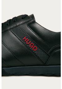 Niebieskie sneakersy Hugo na sznurówki, z cholewką, z okrągłym noskiem