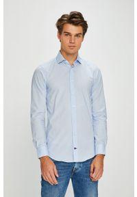 Niebieska koszula Tommy Hilfiger Tailored elegancka, z włoskim kołnierzykiem, gładkie
