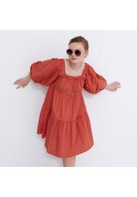 House - Bawełniana sukienka z bufiastym rękawem - Pomarańczowy. Kolor: pomarańczowy. Materiał: bawełna
