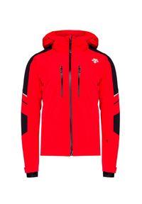 Czerwona kurtka narciarska Descente z kontrastowym kołnierzykiem, Thinsulate, na zimę