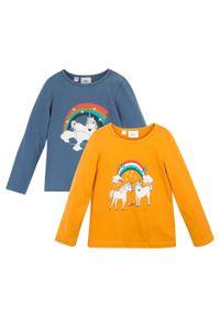 Shirt dziewczęcy z długim rękawem (2 szt.), bawełna organiczna bonprix miodowo-niebieski dżins. Kolor: pomarańczowy. Materiał: bawełna. Długość rękawa: długi rękaw. Długość: długie