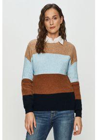Wielokolorowy sweter only casualowy, długi, z okrągłym kołnierzem