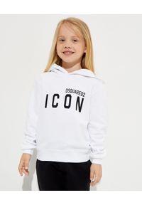 DSQUARED2 KIDS - Biała bluza z logo Icon 4-12 lat. Kolor: biały. Materiał: bawełna. Długość: długie. Wzór: nadruk. Sezon: lato. Styl: klasyczny