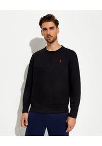 Ralph Lauren - RALPH LAUREN - Czarna bluza z bawełny. Typ kołnierza: bez kaptura, polo. Kolor: czarny. Materiał: bawełna. Długość rękawa: długi rękaw. Długość: długie. Wzór: aplikacja