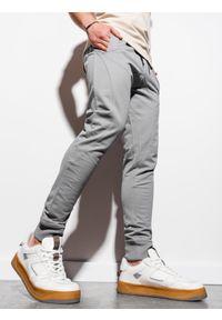 Ombre Clothing - Spodnie męskie dresowe joggery P952 - szare - XXL. Kolor: szary. Materiał: dresówka