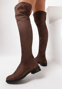 Born2be - Khaki Kozaki Autumneye. Wysokość cholewki: za kolano. Zapięcie: zamek. Kolor: brązowy. Materiał: jeans, futro, materiał. Szerokość cholewki: normalna. Wzór: gładki. Obcas: na obcasie. Wysokość obcasa: niski