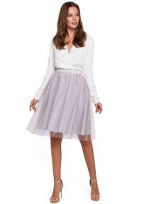 e-margeritka - Spódnica z tiulem szara - xl. Okazja: na imprezę. Kolor: szary. Materiał: tiul. Długość: długie. Wzór: gładki. Styl: elegancki