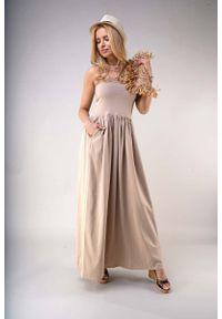 Beżowa sukienka wizytowa Nommo z odkrytymi ramionami, maxi