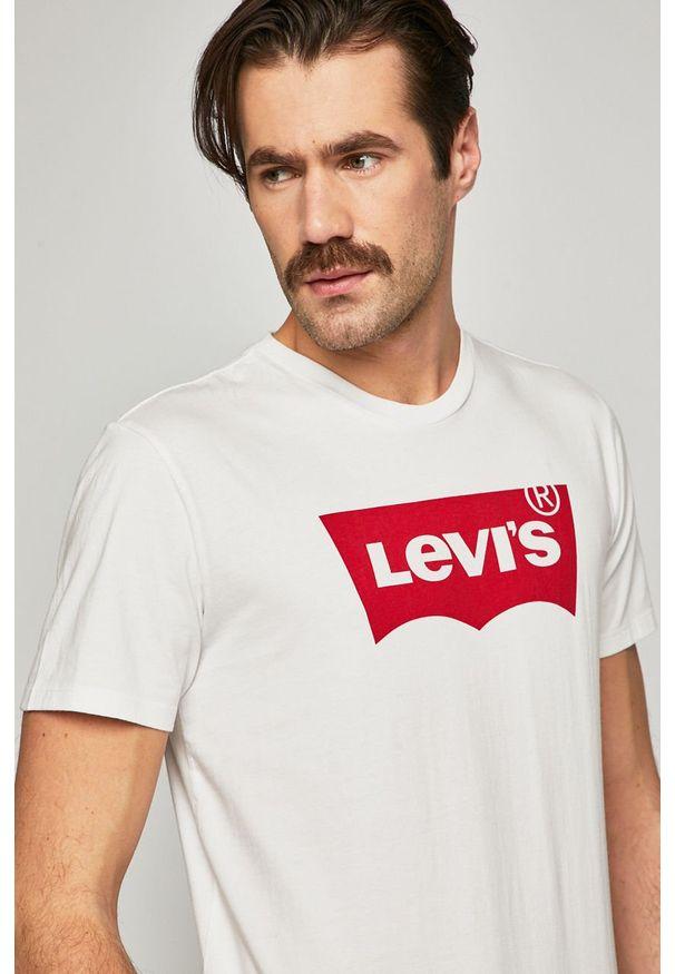 Biały t-shirt Levi's® z okrągłym kołnierzem, na spotkanie biznesowe, z nadrukiem