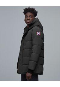 CANADA GOOSE - Grafitowa kurtka puchowa Carson. Kolor: szary. Materiał: puch. Wzór: aplikacja. Sezon: jesień, zima. Styl: klasyczny
