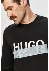 Czarna bluza nierozpinana Hugo na co dzień, z nadrukiem, casualowa, bez kaptura