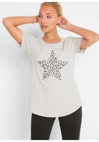 T-shirt z aplikacją bonprix jasnoszary melanż - zielony oceaniczny leo. Kolor: szary. Wzór: aplikacja, melanż #4