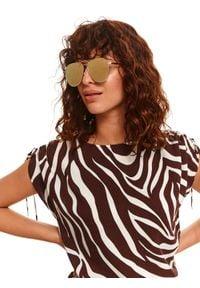 TOP SECRET - Okulary przeciwsłoneczne damskie. Kształt: okrągłe. Kolor: złoty