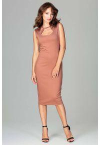 Brązowa sukienka Katrus ołówkowa, klasyczna