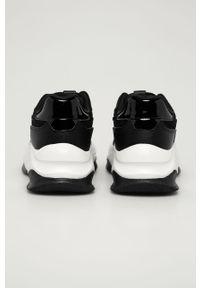 Czarne buty sportowe Answear Lab na średnim obcasie, z okrągłym noskiem, na sznurówki, na obcasie