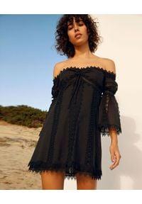 CHARO RUIZ IBIZA - Sukienka z odkrytymi ramionami Campana. Kolor: czarny. Materiał: koronka, bawełna. Wzór: aplikacja, koronka. Typ sukienki: z odkrytymi ramionami. Długość: mini