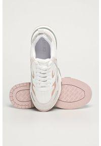 Białe buty sportowe Liu Jo na sznurówki, na średnim obcasie, z okrągłym noskiem