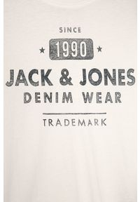 Biała koszulka z długim rękawem Jack & Jones z nadrukiem, casualowa, na co dzień