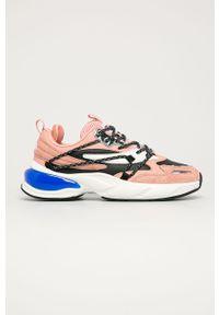 Różowe buty sportowe Fila na sznurówki, z okrągłym noskiem, z cholewką