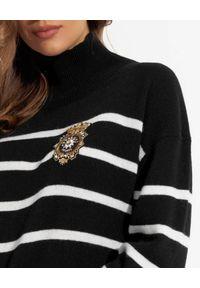 Ermanno Firenze - ERMANNO FIRENZE - Czarny sweter w pasy. Typ kołnierza: golf. Kolor: czarny. Materiał: kaszmir, dzianina, wełna. Wzór: haft, aplikacja
