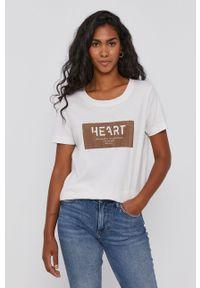 Mos Mosh - T-shirt. Okazja: na co dzień. Kolor: biały. Materiał: bawełna. Wzór: aplikacja. Styl: casual