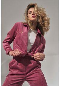 Figl - Klasyczna Koszula Damska - Różowa. Kolor: różowy. Materiał: elastan, nylon, poliester. Styl: klasyczny