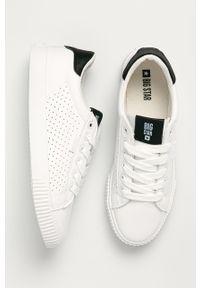 Białe buty sportowe Big-Star na obcasie, z okrągłym noskiem, na średnim obcasie, z cholewką